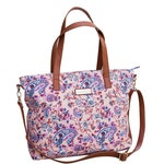 Dahlia Floral Tote Bag | Limited Edition | Paisley Canvas & Vegan Leather | Crossbody Strap Included | Baby Girl Diaper Bag | Lightweight