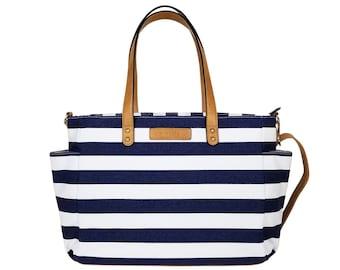 2b08c558e8 Navy Blue Stripe Tote Bag