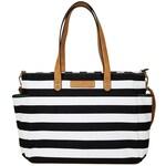 Black Stripe Tote Bag | The Aquila | Canvas & Vegan Leather | Water Resistant Lining | Travel Tote / Diaper Bag / Laptop Bag / Teacher Tote