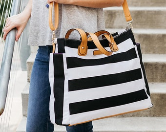 Black & White Weekender Lux Tote Bag | Canvas and Vegan Leather | Diaper / Travel / Teacher Bag
