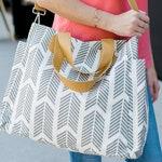 Gray Arrows Weekender Tote Bag | Large Diaper Tote Bag | Nursing / Breast Pump Bag