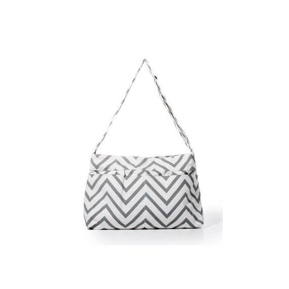 cefcb2ae5791 Gray Chevron Tote Bag Diaper Bag School Bag Hobo Style