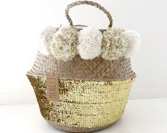 Thai 45 cm tassel Ecru, off-white basket gold sequins and gold plated