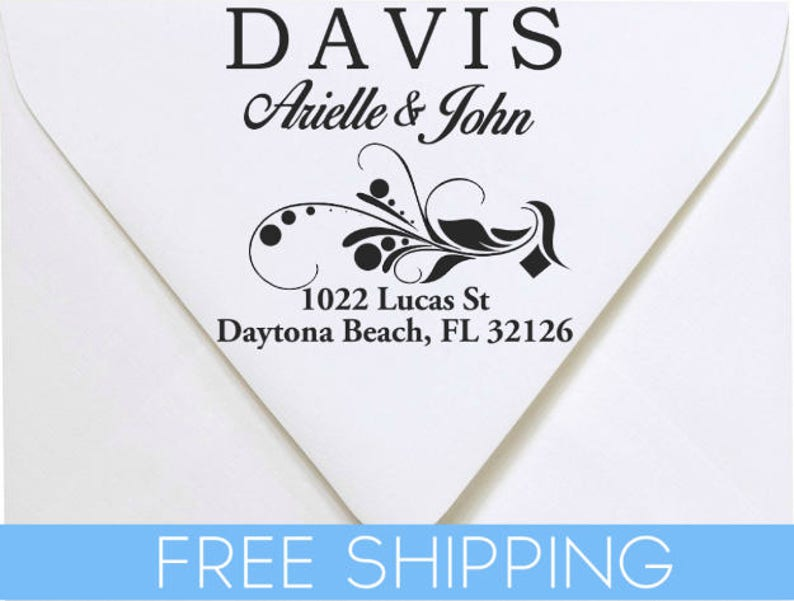 Custom Return Address Stamp Self Inking Personalized rubber stamp with lines of text