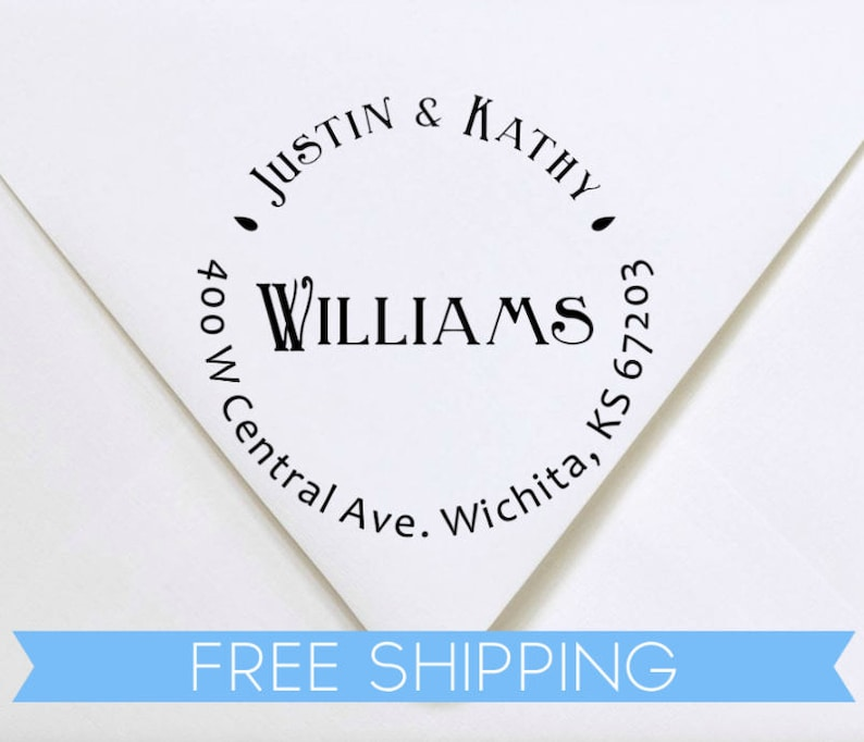 Custom Return Address Stamp Personalized rubber stamp with lines of text Last Name Self Inking