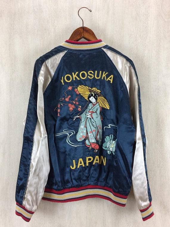 Jacket Yokosuka Geisha Sukajan Embroidery Skull Japan Sukajan Medium Souvenir Jacket Sukajan Houston Reversible BzgYqwgT