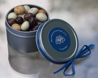 Unique Chocolate Espresso Bean Wedding Favors / Corporate Giveaway Gifts/ Shower Favors. 1 oz Tin.