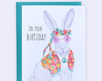 Hippie Birthday Card Funny Peace Love Flowers In Your Hare