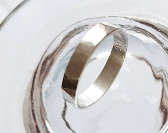 Silver hammered ring personalized for women or for man 0,11811 pouce