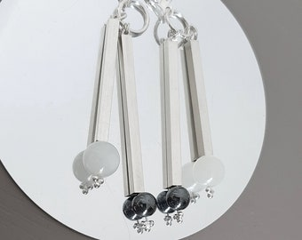 Moonstone earrings, onyx earrings, stick earrings