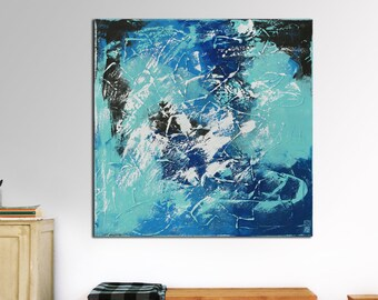 "Original Abstract Painting- Ready to Hang- Large Canvas 35.4""- Expressionist Blue, White- Textured Art -Living Room Wall Art- Ronald Hunter"