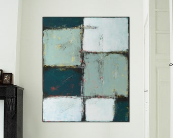 """Original Abstract Painting- Vertical Canvas 43.3""""x35.4""""- Ready to Hang- Geometric Shapes- Blue Green White- Abstract Wall Art -Ronald Hunter"""