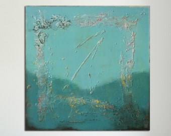 """Original Abstract Painting - Ready to Hang -Square Canvas 35.4""""- Contemporary Art -Rich Blue Tones- Light Textured - Wall Decor -R Hunter"""