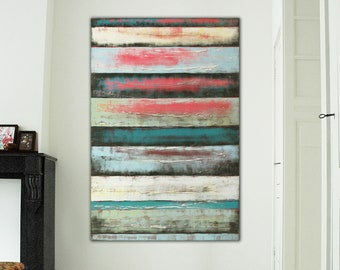 Original Abstract Painting - Ready to Hang- Warm Colorful- Blue, White, Red- Vertical Canvas Wall Art- Modern Wall Decor- Ronald Hunter
