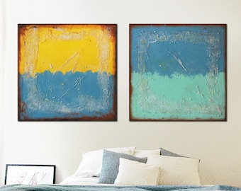 "Original Abstract Painting, Canvas 59.1""x23.6"" - Wall Decor - Landscape Art - White, Blue, Red Textured - Ronald Hunter"