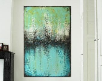 """Original Abstract Painting- Large Acrylic Blue Turquoise Painting 47.2""""x31.5""""- Original Art - Canvas Wall art - Ready to Hang- Ronald Hunter"""