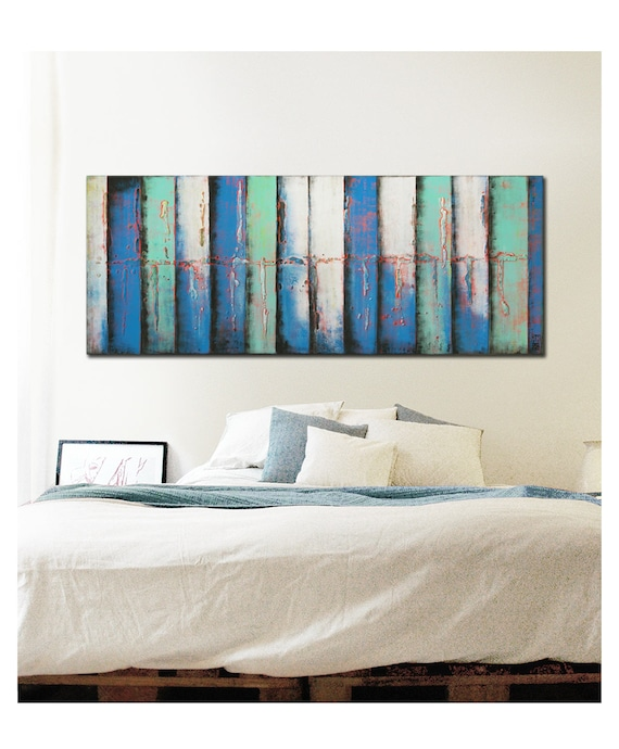acrylic painting canvas wall art panels blues k08 on etsy