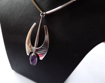 Niels Erik From rare 1960s amethyst vintage designer mid century modernist Danish sterling silver necklace