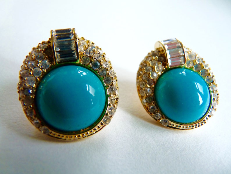 e722a23f262 Christian Dior Bijoux stud earrings with crystals gold accents and  turquoise blue cabochon inset 1980s signed made in Germany by Grosse