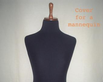 COVER for Mannequin bust torso dress form, Black with Elastin