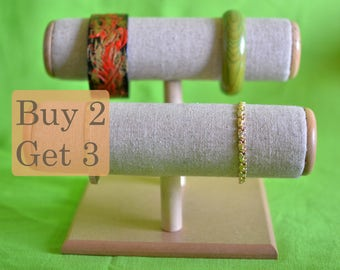 Bracelet holder display organizer and Watch holder display organizer T-bar for bracelets natural/skin colour calico material