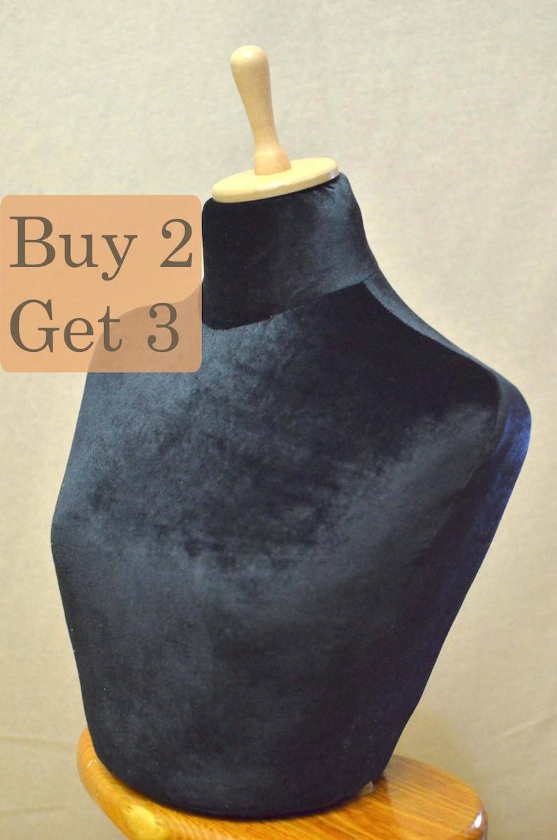 Jewelry stand necklace holder organizer decorative dummy  Velvet  Mannequin for necklaces  and Half Mannequin bust torso  black