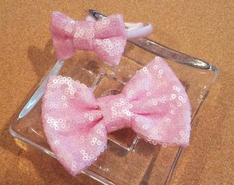 Dolly & Me Headband Set - Baby Pink Sequin Bow - RTS