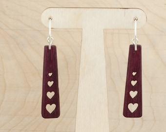 Wooden Earrings - Style A4 - Hearts