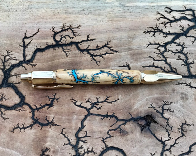 Featured listing image: Electrocuted Wood Fractal Pen with Turquoise Inlay
