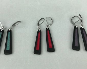Ebony Earrings with Stone Inlay