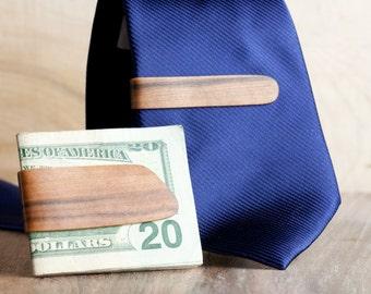 Groomsmen Money Clip Package - 5 x Personalized Money & Tie Clip Combo
