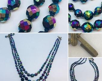 Vintage necklace, Rainbow necklace,