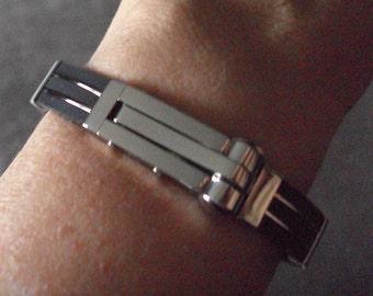 Hand Cuff Style Bracelet Triple Silicone & Stainless Steel Bangle BDSM Kink Bondage Slave Jewelry
