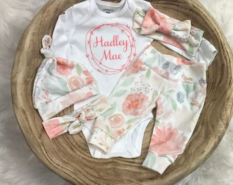 Arrow feather peony floral blue Baby Girl Set Leggings Hat Headband Bow Gift Shower Photo Prop newborn Take Home Outfit Birthday Knot Pants