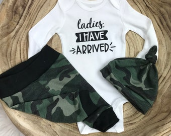 2ff2dc455133c Newborn boy coming home outfit, Ladies I Have Arrived bodysuit, Camo pants, Baby  Boy Camouflage pants, Premie Boy Outfit, Camo hat, baby boy