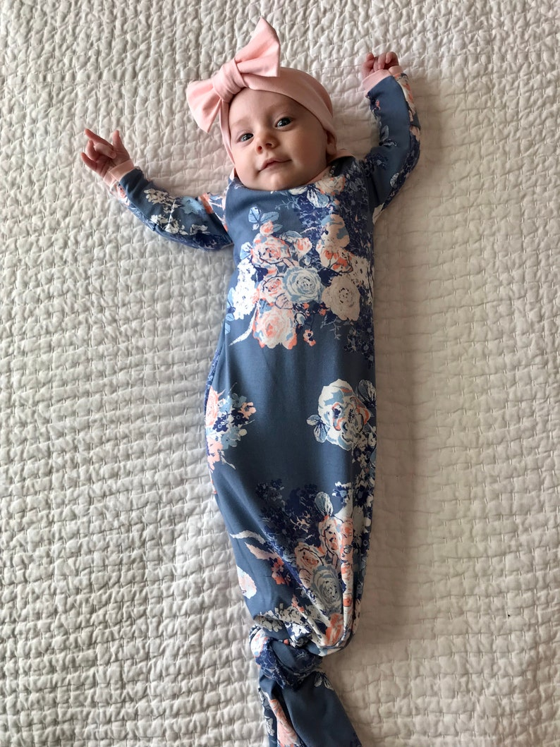 126a380a8 Newborn Girl Coming Home Outfit Newborn Girl knotted gown