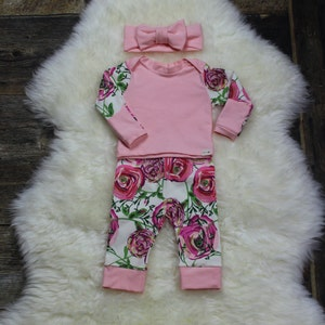 ruffle top Premie girl blush bow beanie; baby shower; girl clothing Baby Girl Coming Home Outfit; Newborn Girl floral pants