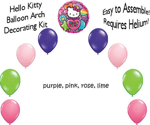 Hello Kitty Balloon Arch Diy Kit Party Decoration Hellykitty02 Etsy