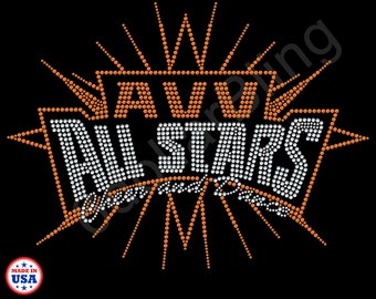 6121724df AVV ALL STARS Cheer   Dance - Custom Bling Rhinestone Transfer