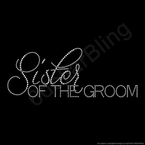 """/""""Aunt of the Groom/"""" Party Rhinestone Transfer Hotfix Iron on with a Free Gift"""