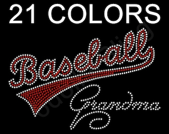 "Rhinestone Iron On Transfer ""Baseball Grandma"" Bling - You choose from 17 Colors - Make Your Own Shirt DIY!"
