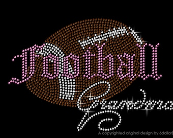 "Rhinestone Iron On Transfer ""Football Grandma"" Sports Design Everyone Loves Pink"