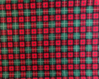 Laurie Cook, Christmas, Red and Green Plaid, Quilt Shop Cotton, Fabric by the 1/2 yard
