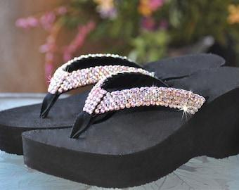 9a21639e3d0741 Swarovski Crystal Rhinestone Flip Flop Sandals For your Wedding