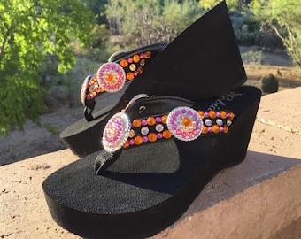 1dab66fab14bd3 Orange Obsession Concho Diva s Swarovski Crystal Flip Flops