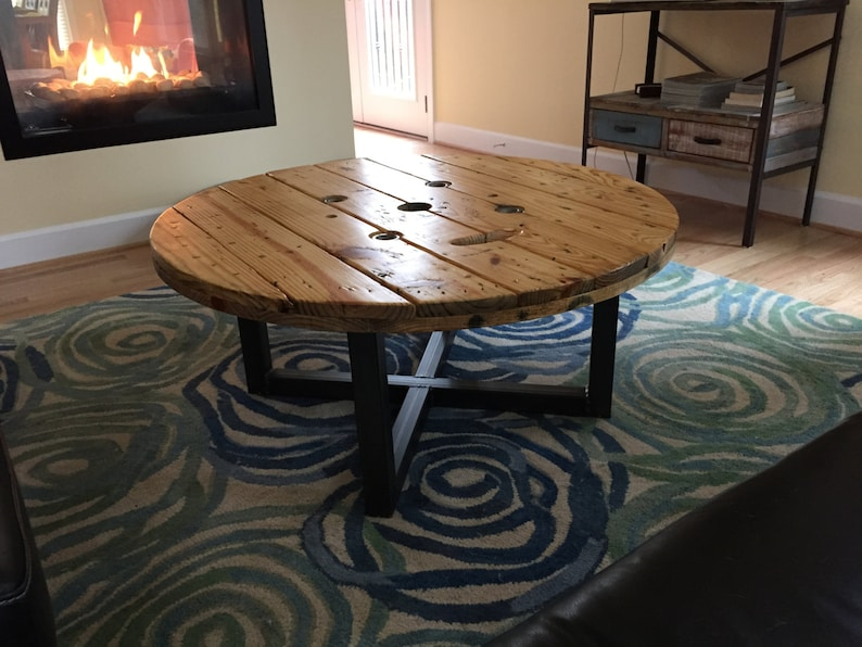 Coffee Table, Industrial Spool, Urban Cable Spool Reclaimed Wood Steel  Frame Metal Legs