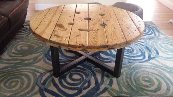 Coffee Table Industrial Spool Urban, Wooden Wire Spool Coffee Table
