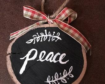 Handmade Painted Wood Slice Christmas Ornament - Peace w/ Ribbon