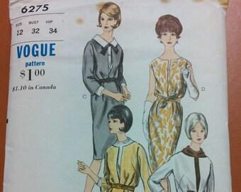 Vogue 6275 One-Piece Dress Sheath Blouse Classic Vintage Women's Fashion Sewing Pattern 1960s 60s Size 12 34