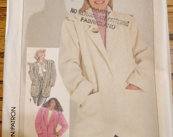 Simplicity 7755 Easy Coat Jacket Wide Shoulders Loose Fitting Vintage  Fashion Sewing Pattern 1980s 80s Size 16 18 20 UNCUT 27b54eb16667